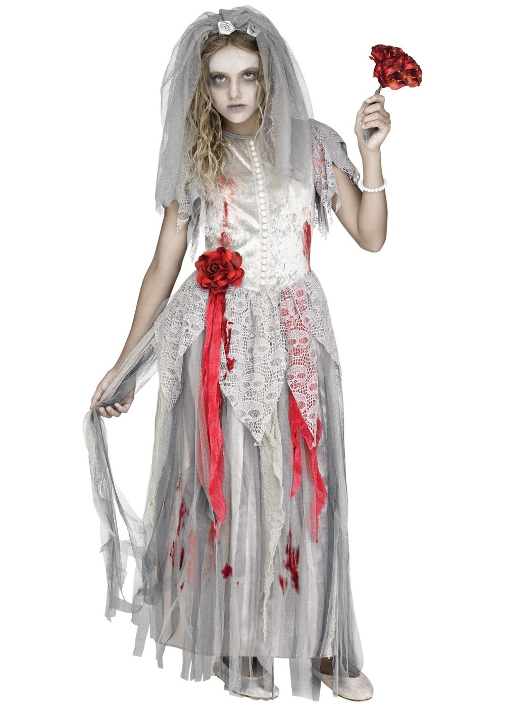 Kids Zombie Bride Girl Costume