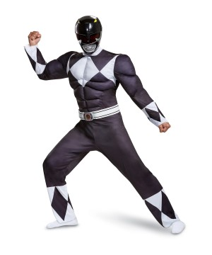 Black Ranger Classic Muscle Men Costume
