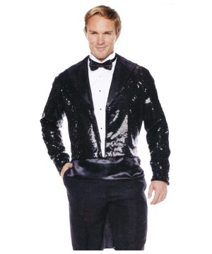 Mens Black Sequin Coat Tail Jacket