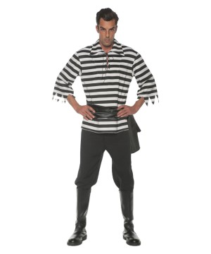 Black and White Pirate Men Costume