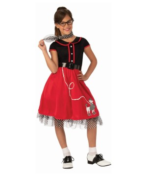 Girls Red Poodle Skirt Sweetheart Costume