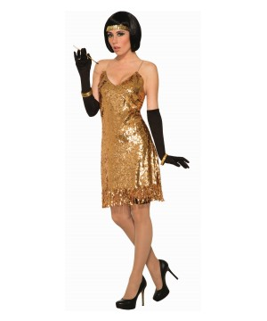 Golden Sequin Disco Dress