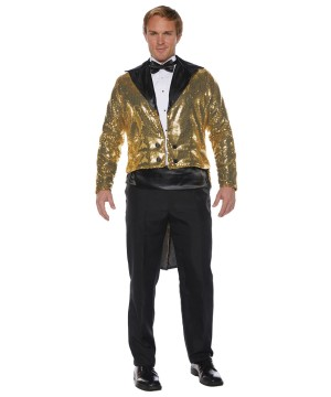 Mens Gold Sequin Coat Tails Jacket