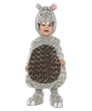 Grey Plush Swirl Hippo Baby Costume