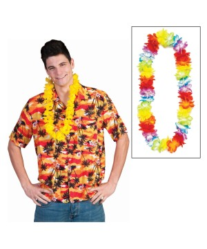 Tropical Palm Tree Shirt With Lei
