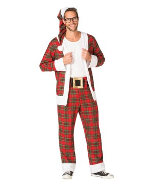Mens Hip Plaid Santa Costume