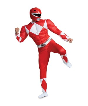 Mighty Morphin Red Ranger Mens Muscle Costume