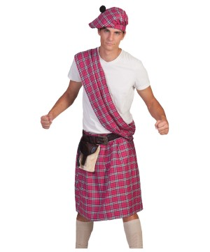 Pink Scottish Highlander Mens Costume