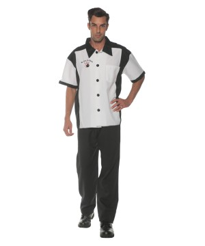 Mens White Bowling Shirt