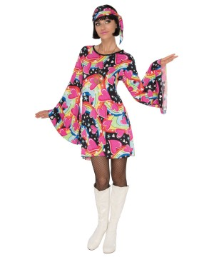 Womens Colorful Hippie Costume