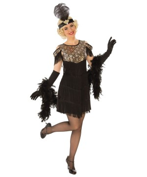 Womens Dark Golden Flapper Costume