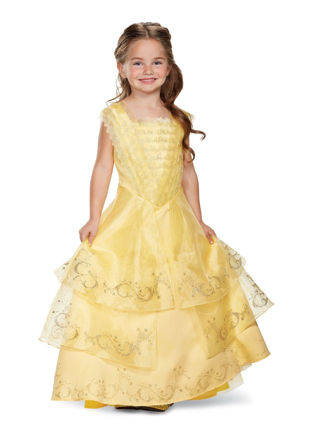 Kids Disney Belle Ball Gown Girls Costume