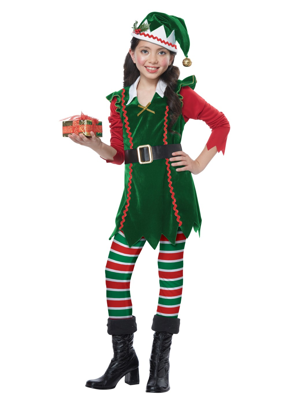 Kids Festive Elf Girl Costume