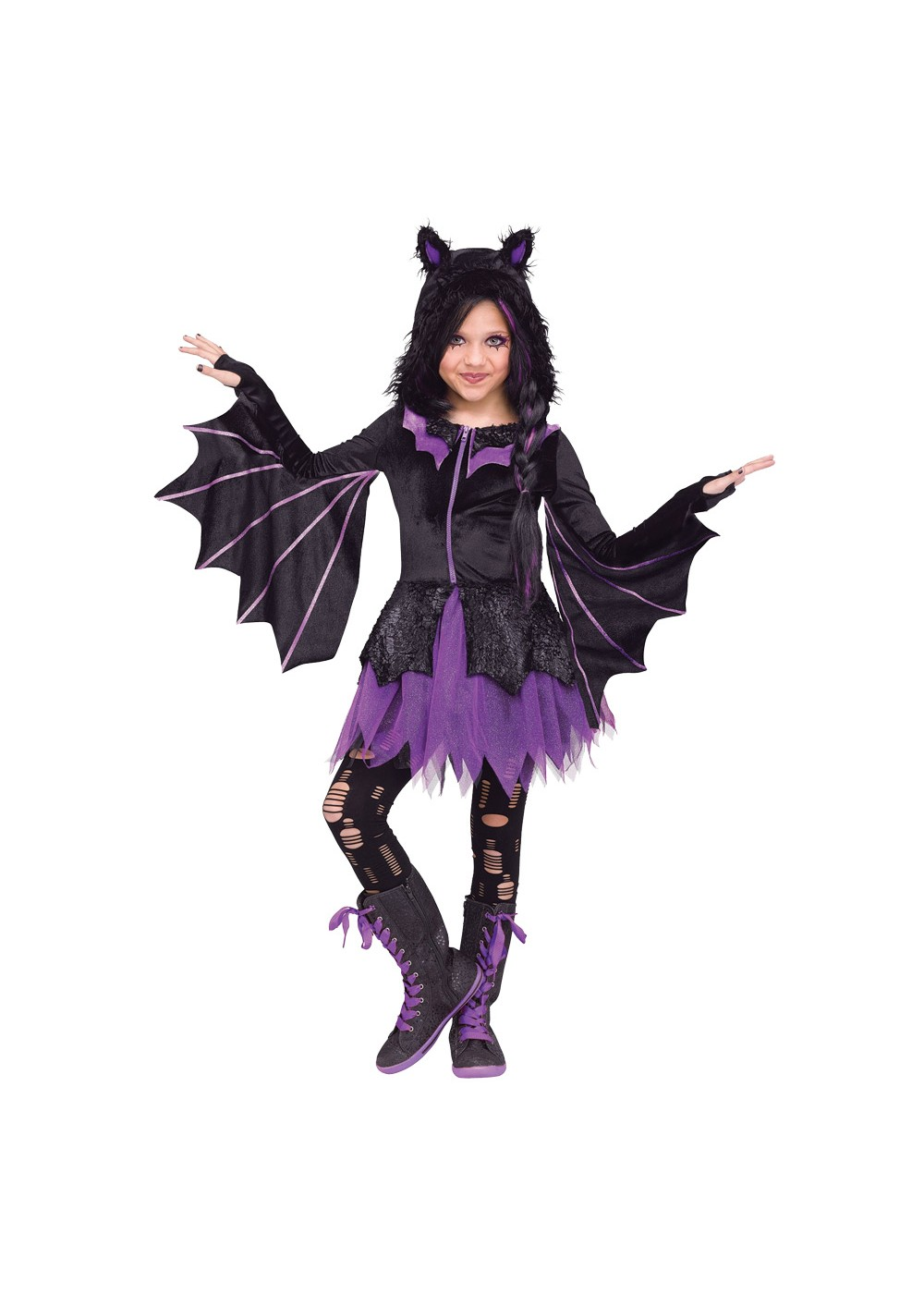 Kids Girls Night Flyer Bat Costume