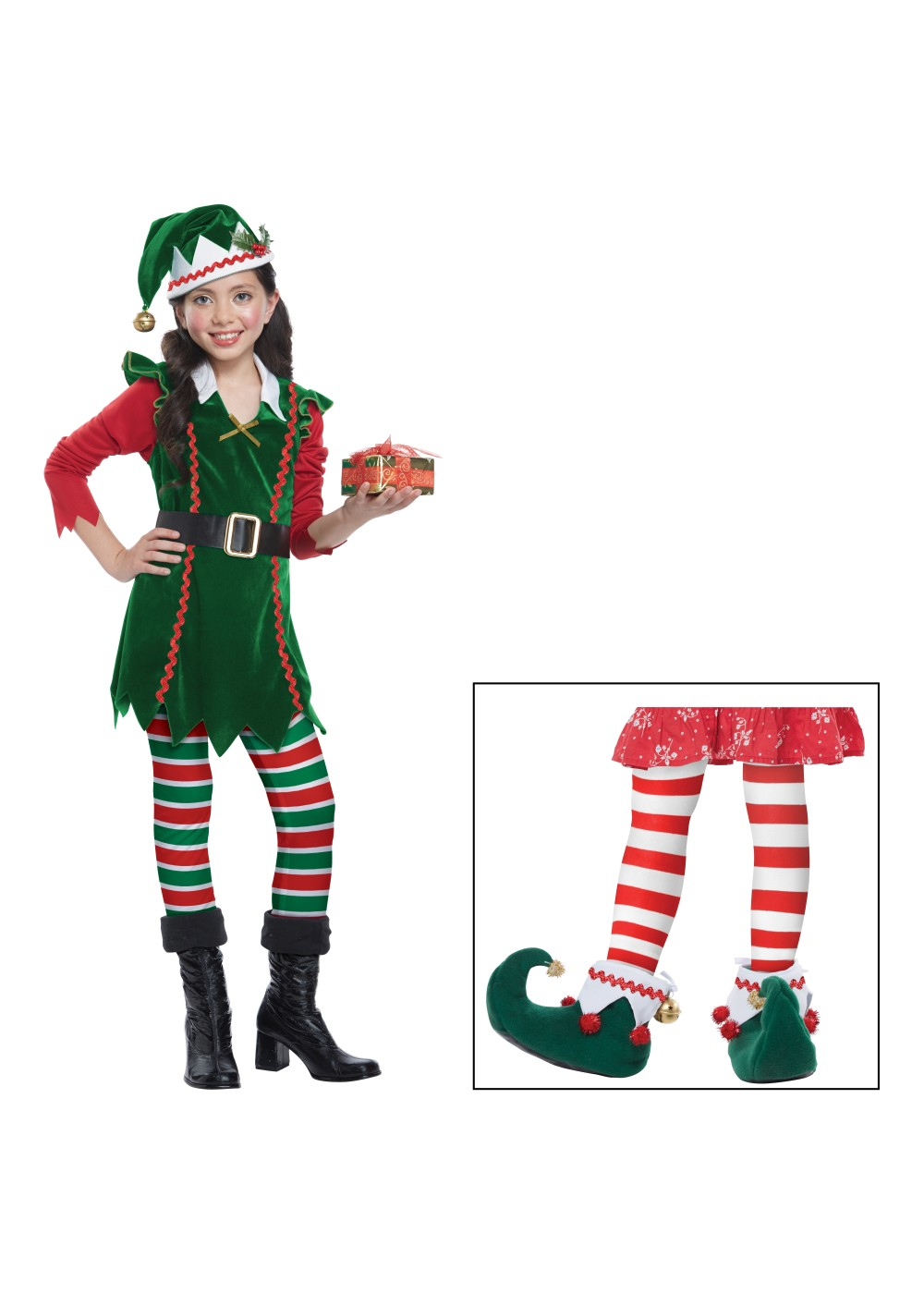 Kids Girls Toy Helper Elf Costume Set
