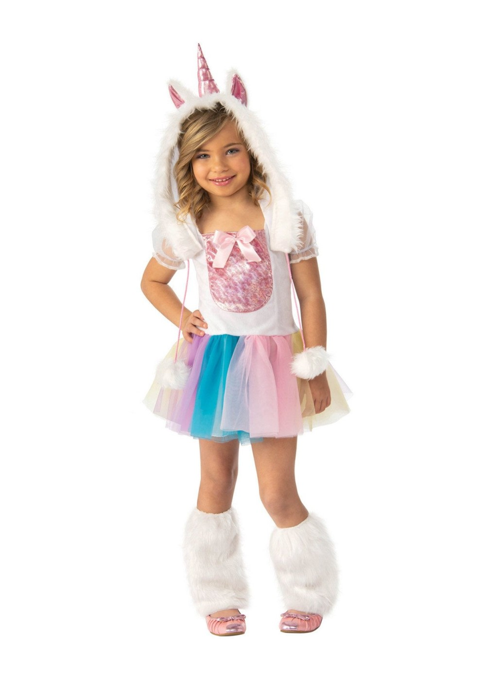 Kids Girls Magical Rainbow Unicorn Costume
