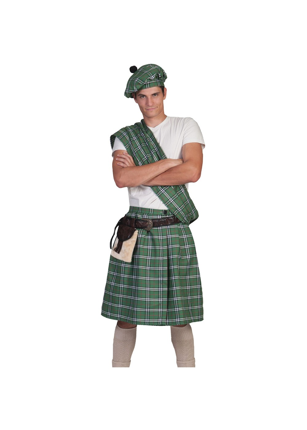 Green Scottish Highlander Mens Costume