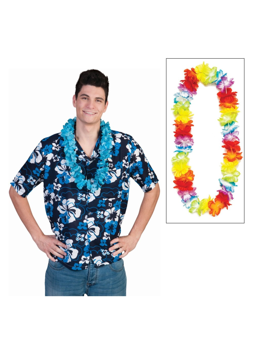 Tropical Hibiscus Flower Print Shirt And Lei