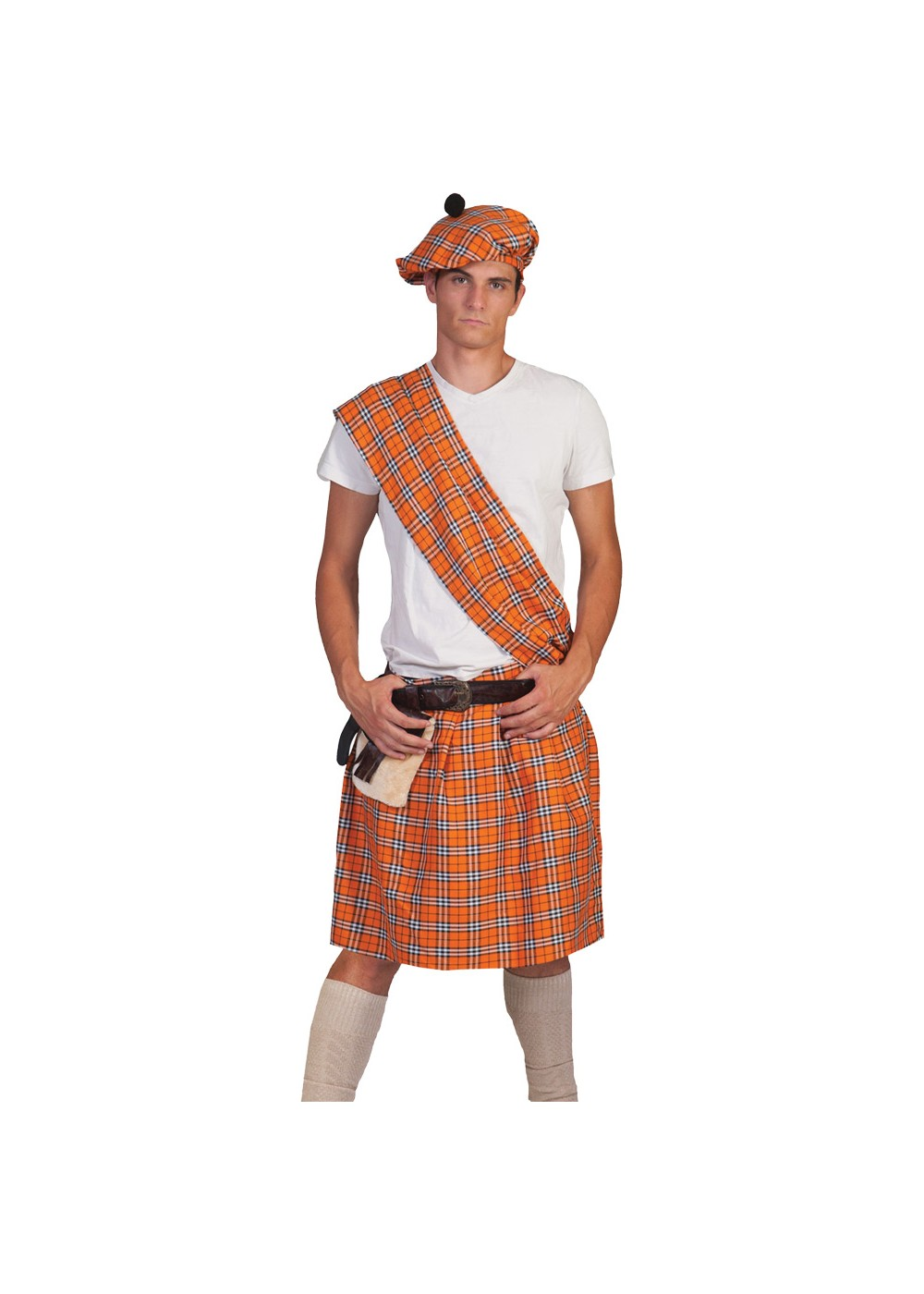Orange Scottish Highlander Mens Costume