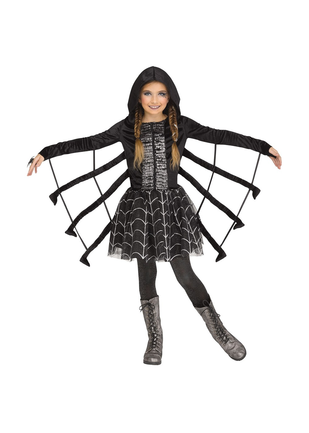 Kids Girls Sparkling Spider Costume