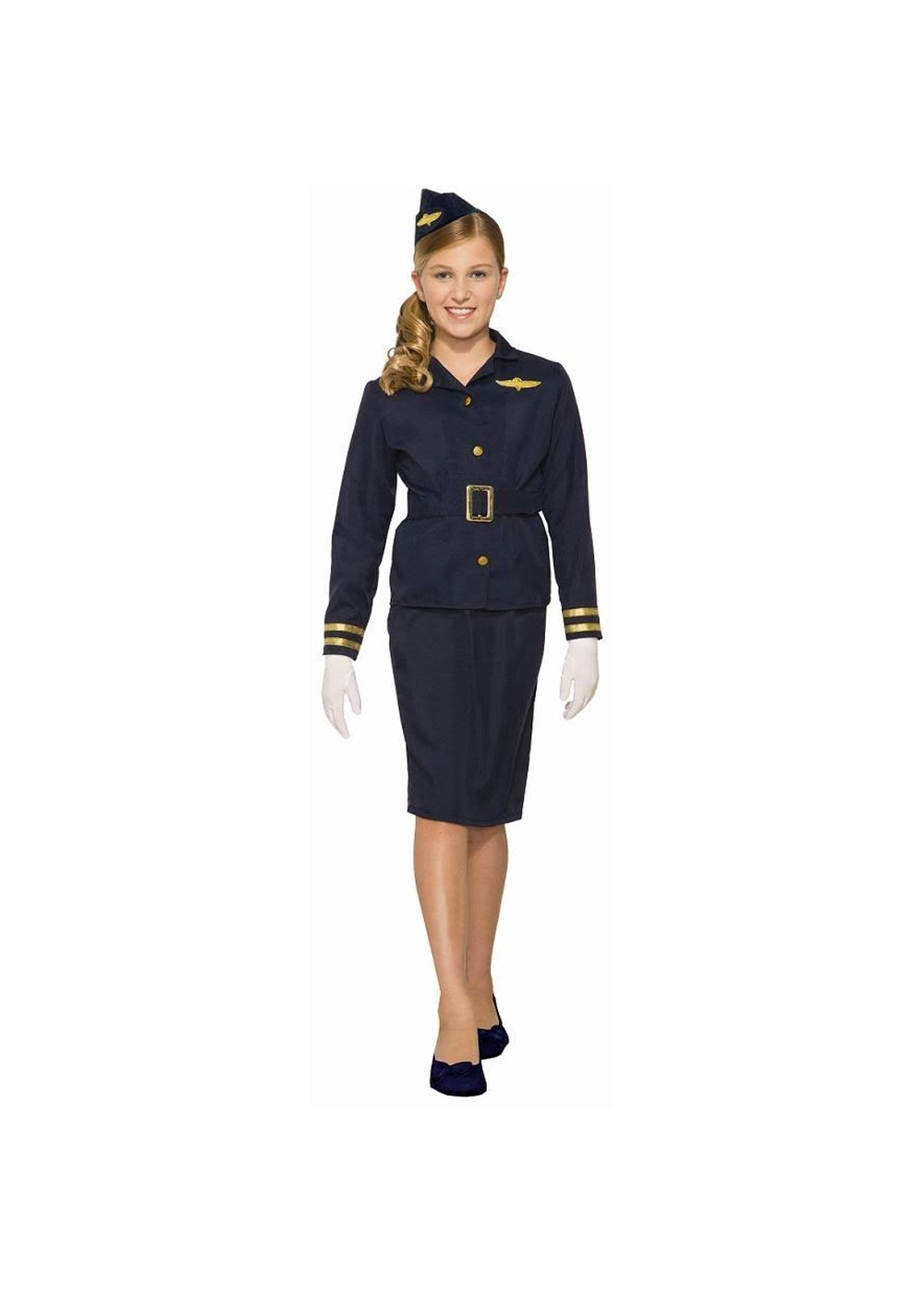 Kids Girls Stewardess Costume