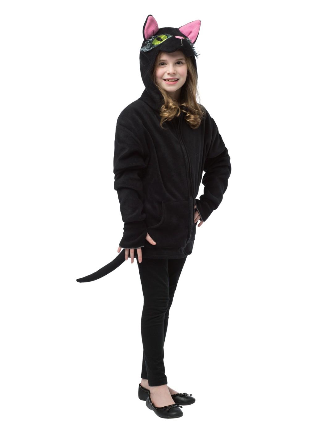 Kids Black Cat Cropped Hoody