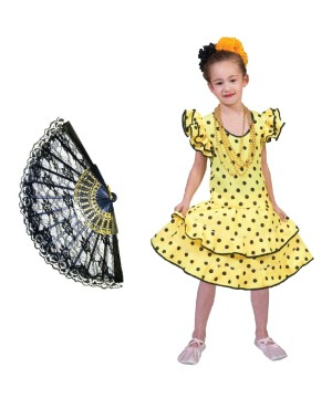Girls Yellow Flamenco Bailarina Kit Costume