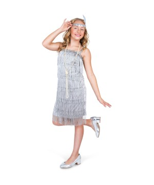 Silver Flapper Girls Costume