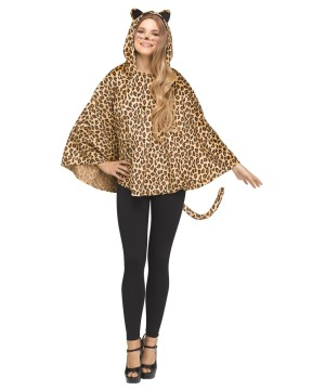 Womens Leopard Hooded Poncho