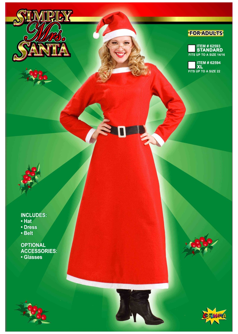 Mrs Santa Claus Simple Plus Size Womens Costume