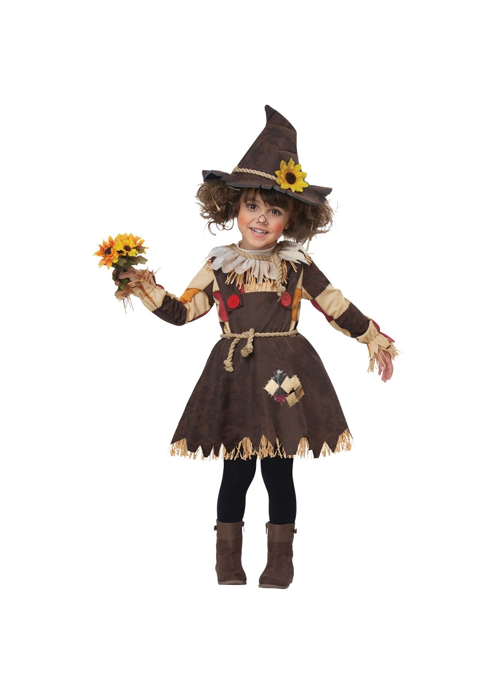 Kids Pumpkin Scarecrow Girls Costume