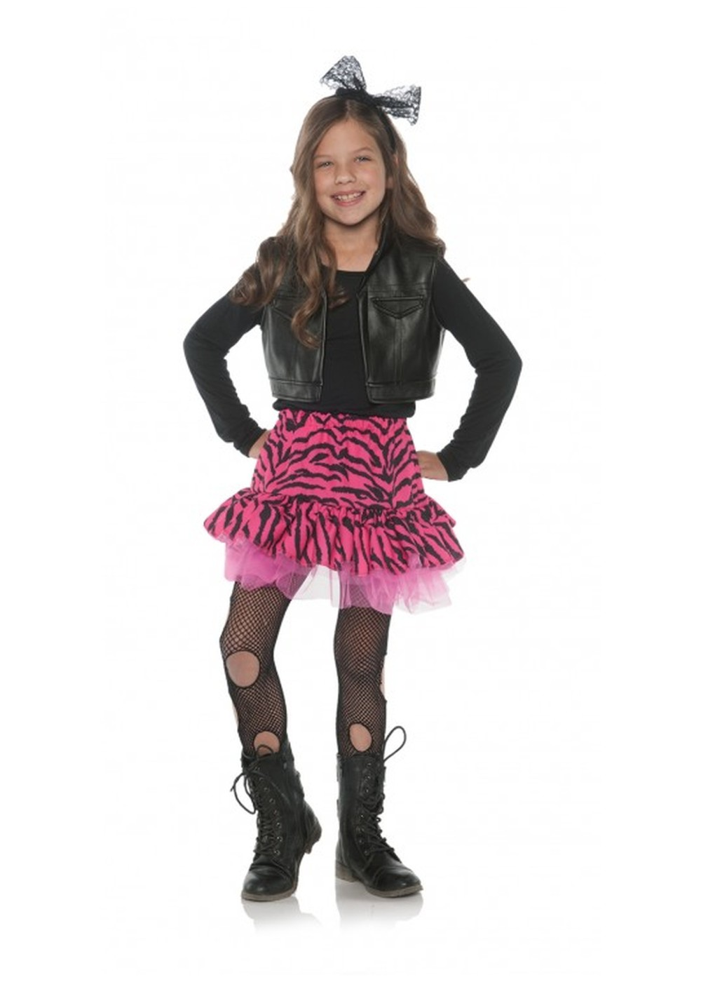 Kids 80s Zebra Rocker Girl Costume