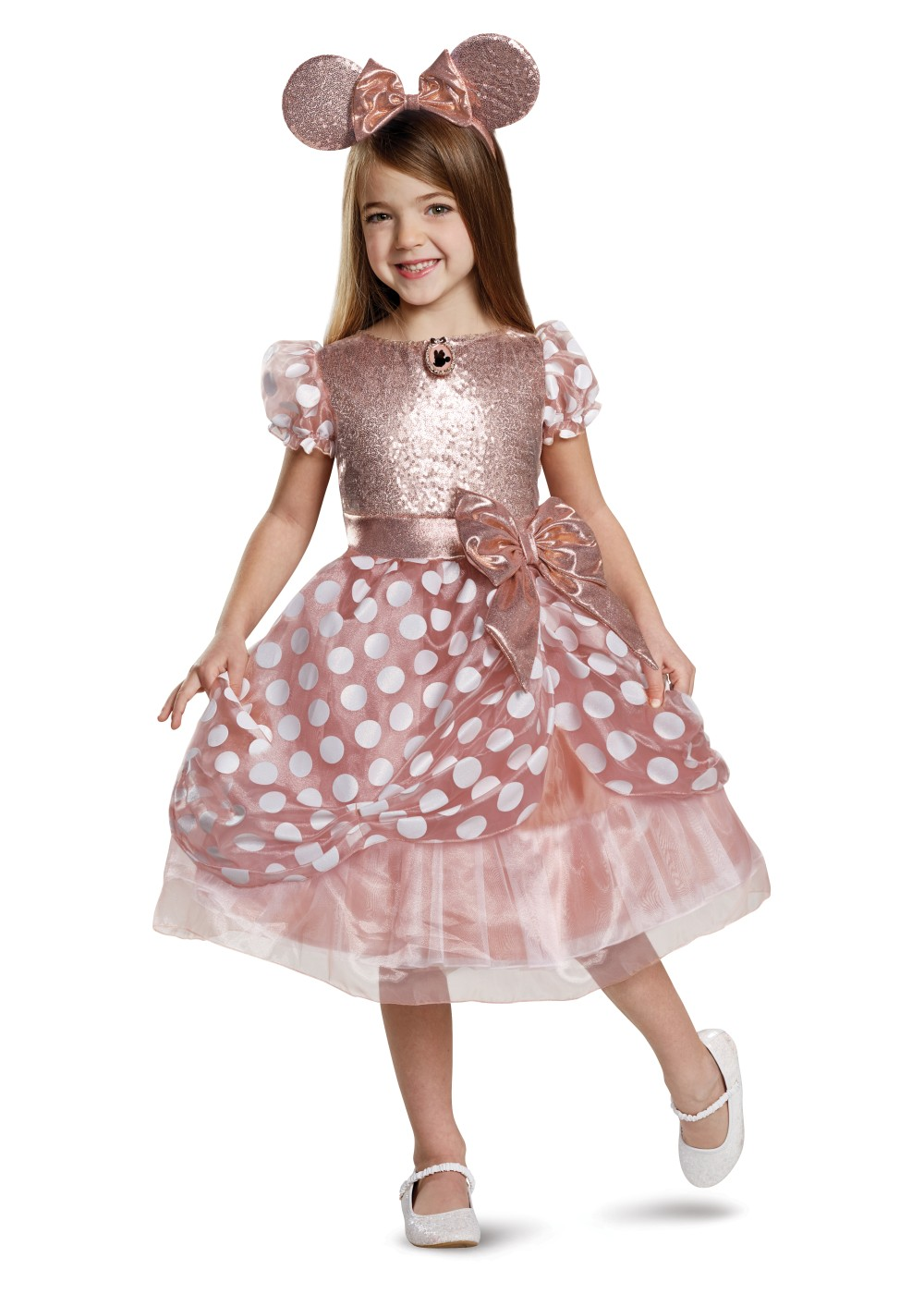Kids Rose Gold Minnie Deluxe Girl Costume