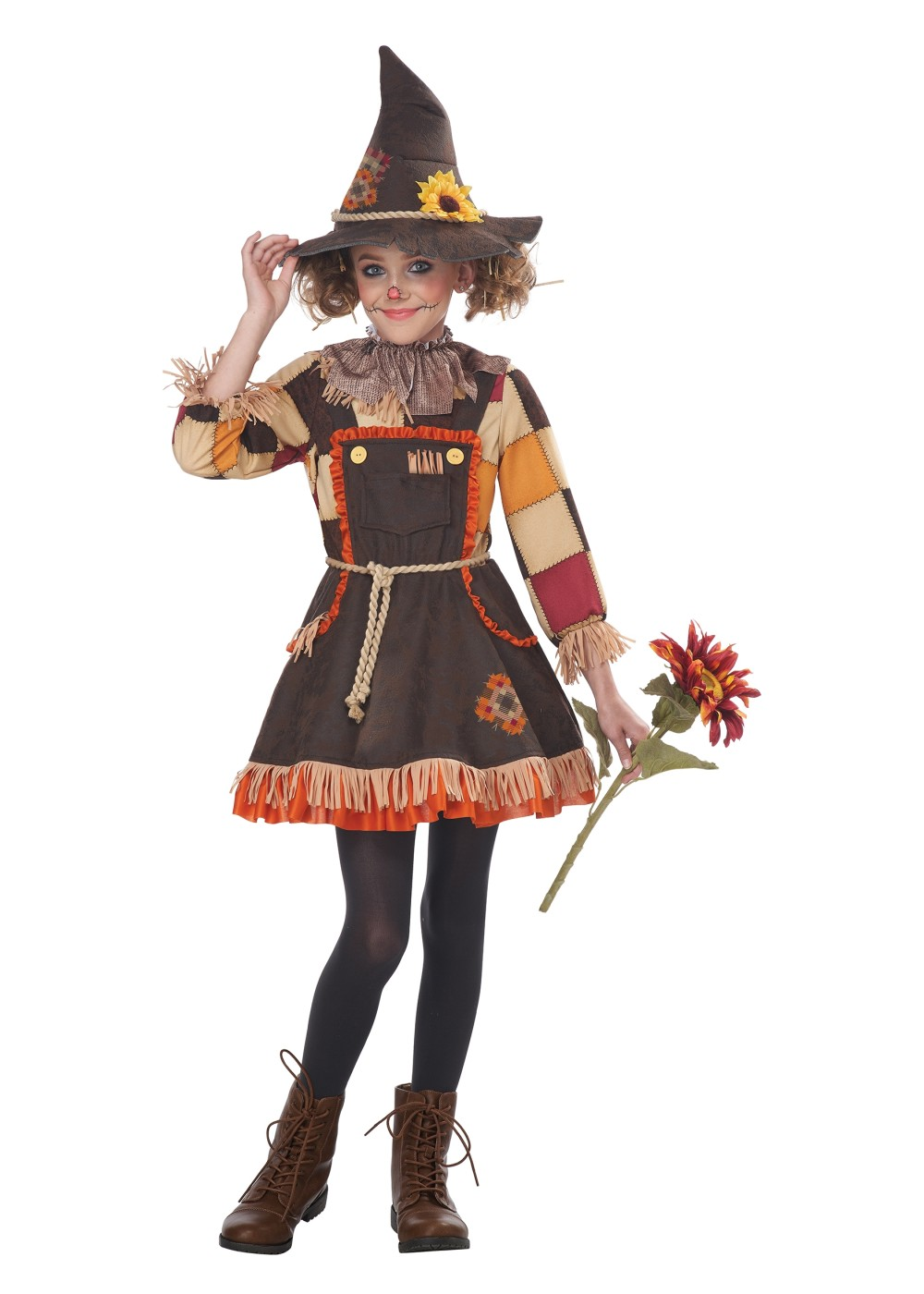 Kids Patchwork Scarecrow Girls Costume