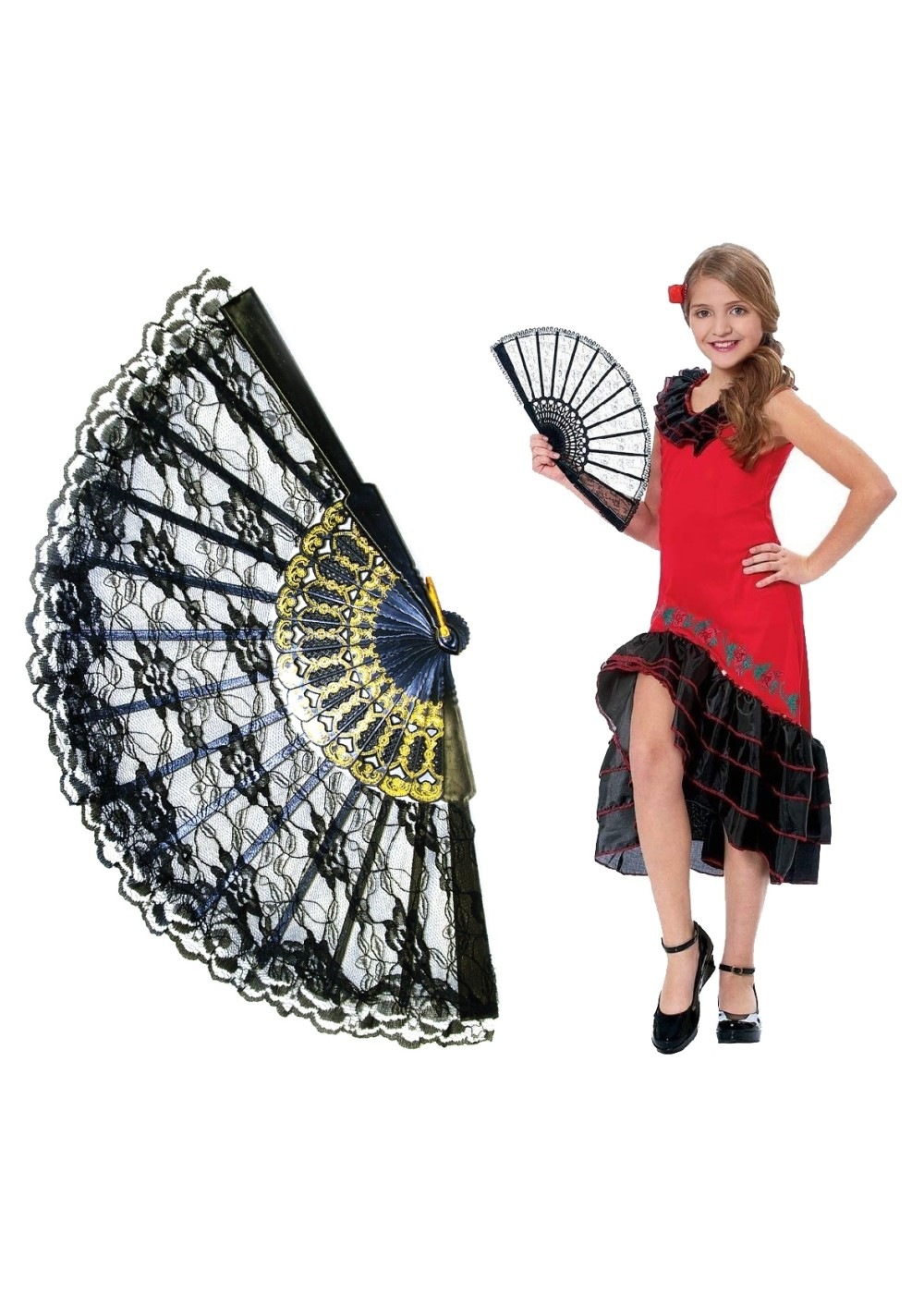 Kids Girls Spanish Dancer Kit Costume