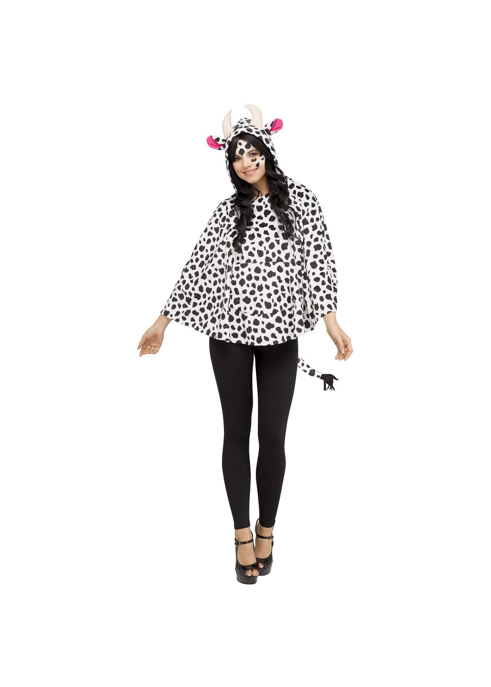Womens Cow Hooded Poncho