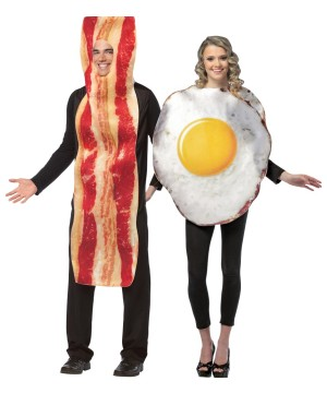 Bacon Slice Fried Eggs Couple Costume