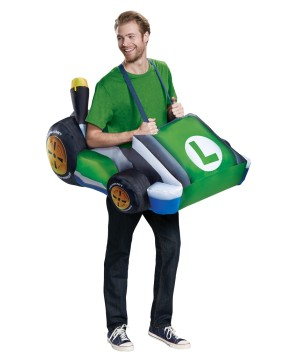 Mens Luigi Kart Inflatable Costume