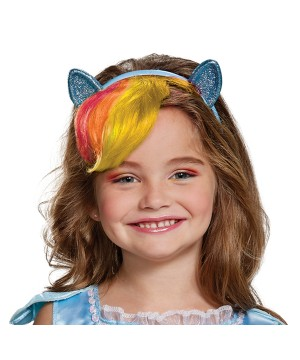 Rainbow Dash Headpiece With Hair Kids Little Pony