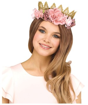 Rose Gold Fantasy Fairy Floral Crown Adult