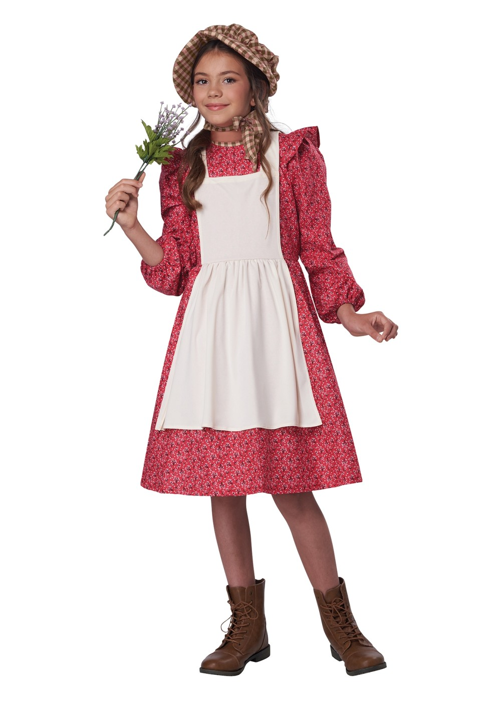 Kids Burgundy Frontier Settler Girl Costume
